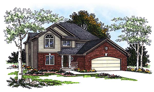 European House Plan 93181 with 4 Beds, 3 Baths, 2 Car Garage Elevation