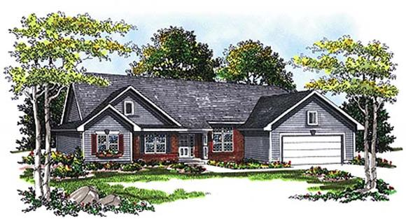 One-Story, Ranch House Plan 93194 with 3 Beds, 3 Baths, 3 Car Garage Elevation