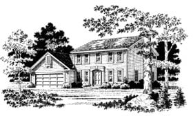 Colonial, Country, Southwest House Plan 93306 with 3 Beds, 3 Baths, 2 Car Garage Elevation