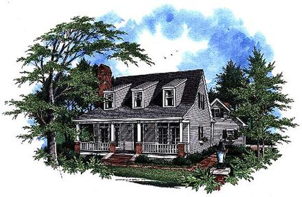 Cape Cod, Country House Plan 93412 with 3 Beds, 3 Baths, 2 Car Garage