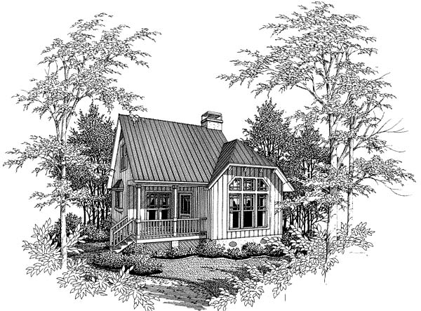 Cabin, Cape Cod House Plan 93422 with 2 Beds, 1 Baths Elevation