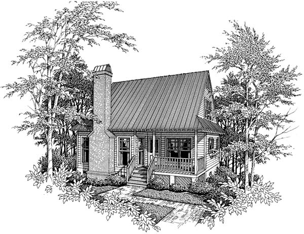 Cabin, Cape Cod House Plan 93424 with 3 Beds, 1 Baths Elevation