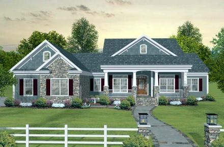 Craftsman, European, Traditional House Plan 93483 with 3 Beds, 3 Baths, 3 Car Garage