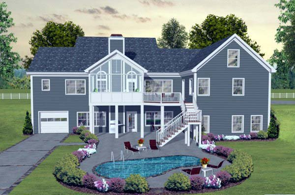 Craftsman, European, Traditional House Plan 93483 with 3 Beds, 3 Baths, 3 Car Garage Rear Elevation