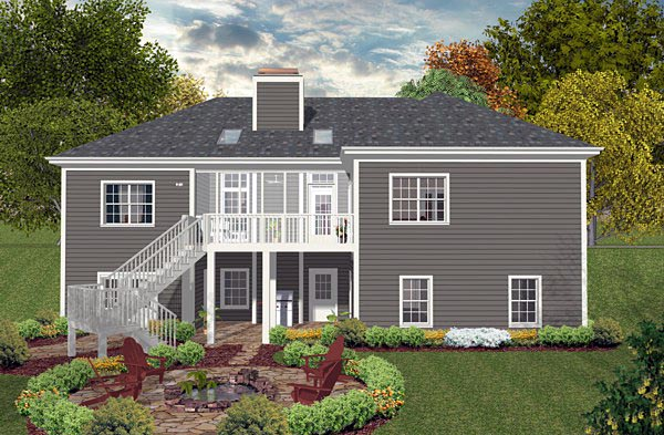 Country Craftsman Traditional House Plan 93488 Rear Elevation