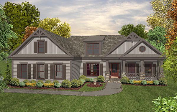 Cottage Country Craftsman House Plan 93491 Elevation