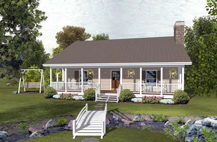 Cabin, Country, Ranch House Plan 93497 with 2 Beds, 2 Baths