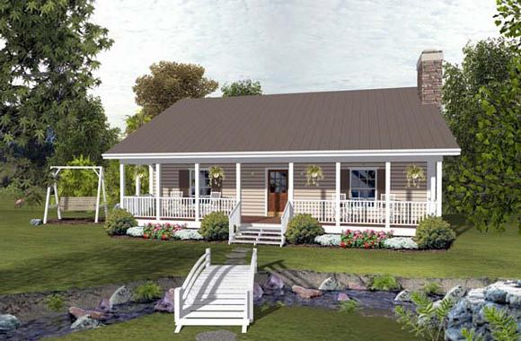 Cabin, Country, Ranch House Plan 93497 with 2 Beds, 2 Baths Elevation