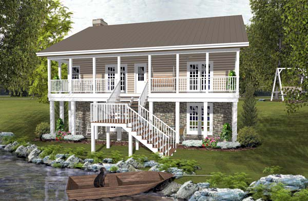 Cabin Country Ranch Rear Elevation of Plan 93497