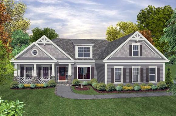 Craftsman, Traditional House Plan 93499 with 3 Beds, 2 Baths, 2 Car Garage Elevation
