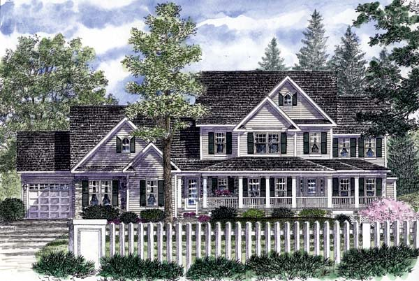 Country, Farmhouse House Plan 94178 with 3 Beds, 3 Baths, 3 Car Garage Elevation