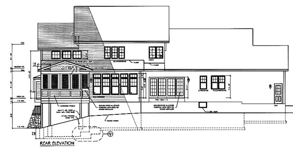 Country, Farmhouse House Plan 94178 with 3 Beds, 3 Baths, 3 Car Garage Rear Elevation