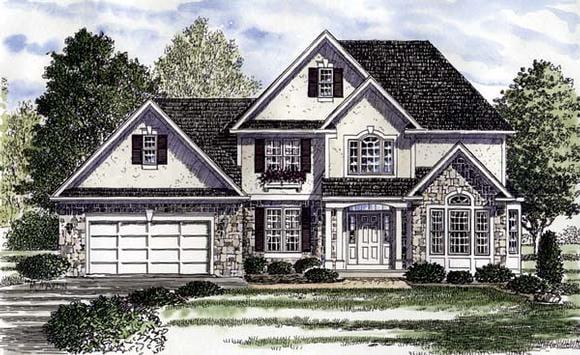 Colonial, European, Tudor House Plan 94180 with 4 Beds, 4 Baths, 2 Car Garage Elevation
