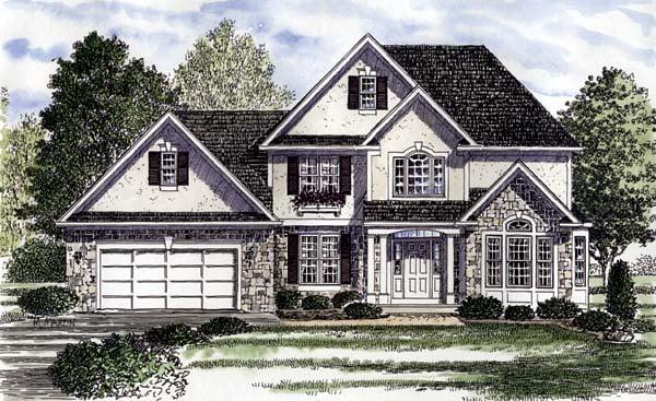 Colonial European Tudor House Plan 94180 Elevation