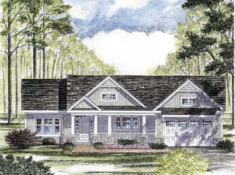Cottage Country Craftsman Ranch Southern Traditional House Plan 94182 Elevation