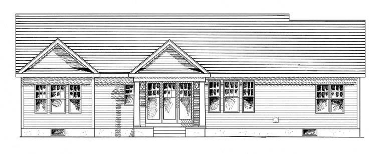 Cottage Craftsman Ranch House Plan 94182 Rear Elevation