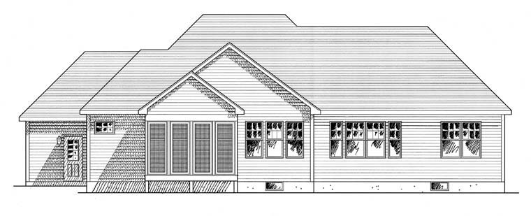 Cottage Ranch Traditional House Plan 94183 Rear Elevation