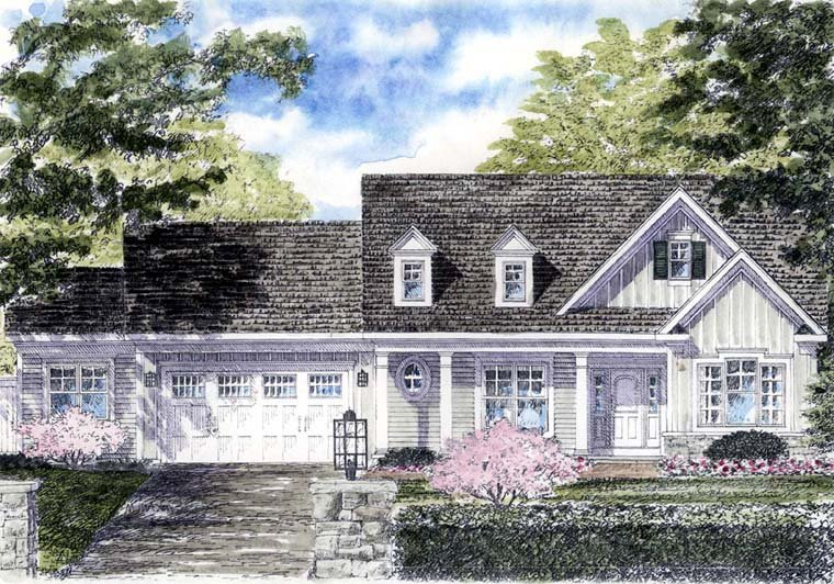 House Plan at FamilyHomePlans comCape Cod Colonial Cottage Country Ranch House Plan Elevation