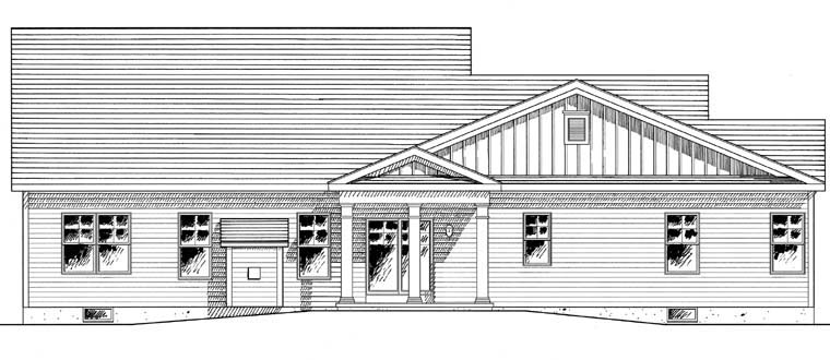 Cape Cod Colonial Cottage Country Ranch House Plan 94185 Rear Elevation
