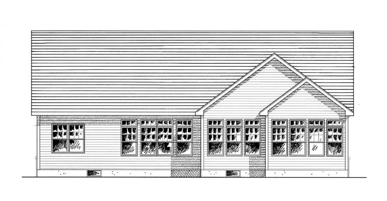 Ranch Traditional House Plan 94190 Rear Elevation