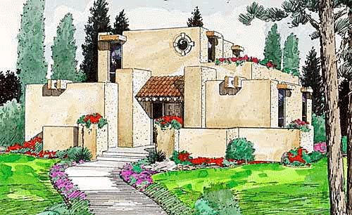 Santa Fe Southwest House Plan 94304 Elevation