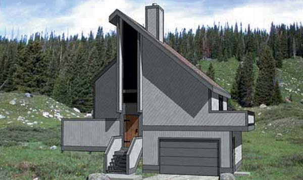 Contemporary House Plan 94305 with 2 Beds, 2 Baths, 1 Car Garage Elevation