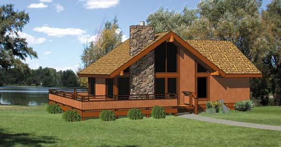 Cabin House Plan 94307 with 2 Beds, 2 Baths Elevation