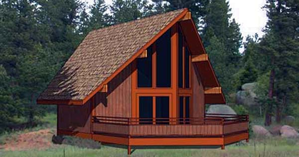 Cabin Contemporary House Plan 94308 Elevation