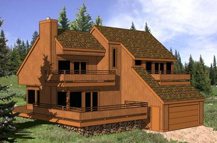 Contemporary House Plan 94333 with 3 Beds, 2 Baths, 2 Car Garage