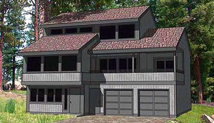 Contemporary House Plan 94334 with 3 Beds, 3 Baths, 2 Car Garage