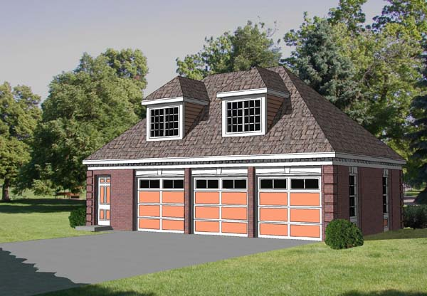 3 Car Garage Apartment Plan 94347 with 1 Beds, 1 Baths Elevation