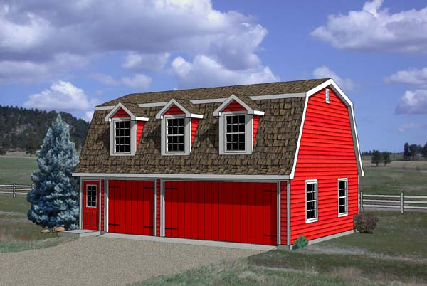 3 Car Garage Apartment Plan Number 94348 with 1 Bed, 1 Bath