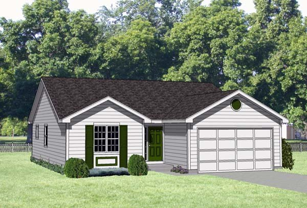 One-Story, Ranch House Plan 94369 with 3 Beds, 2 Baths, 2 Car Garage Elevation