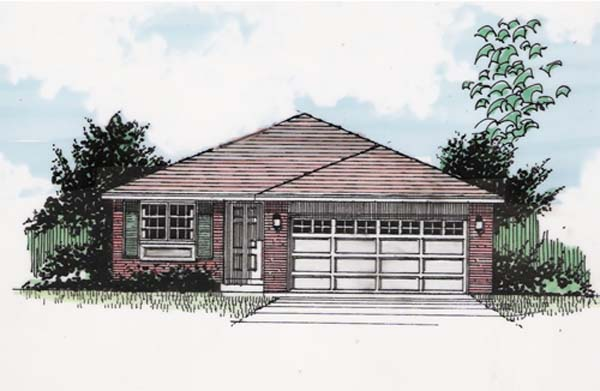 One-Story, Traditional House Plan 94376 with 3 Beds, 2 Baths, 2 Car Garage Elevation