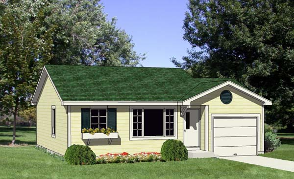 Ranch House Plan 94383 with 2 Beds, 1 Baths, 1 Car Garage Elevation