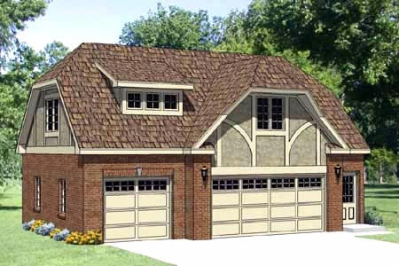 Tudor 3 Car Garage Apartment Plan 94399 with 1 Beds, 1 Baths Elevation