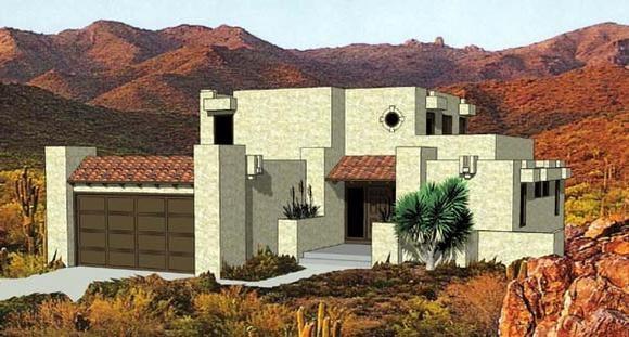 Santa Fe, Southwest House Plan 94423 with 3 Beds, 3 Baths, 2 Car Garage Elevation
