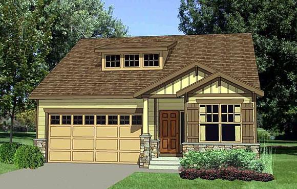 Craftsman, Narrow Lot, One-Story House Plan 94453 with 3 Beds, 3 Baths, 2 Car Garage Elevation