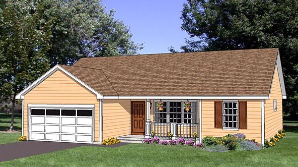 Ranch House Plan 94461 with 3 Beds, 2 Baths, 2 Car Garage Elevation