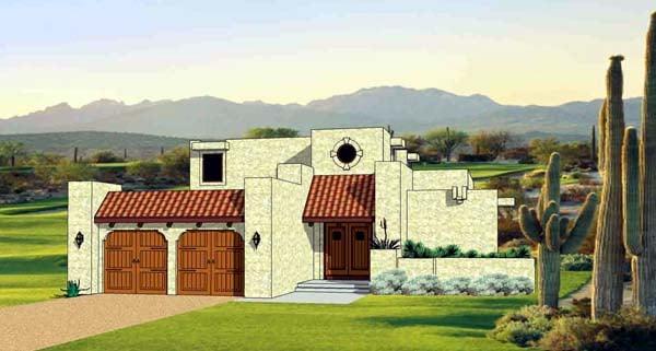 Santa Fe Southwest House Plan 94489 Elevation