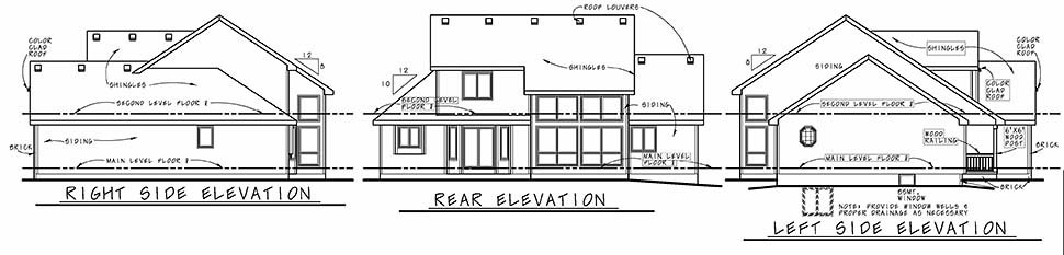 Country Farmhouse Traditional House Plan 94989 Rear Elevation