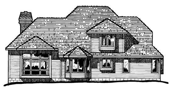 European House Plan 94993 Rear Elevation