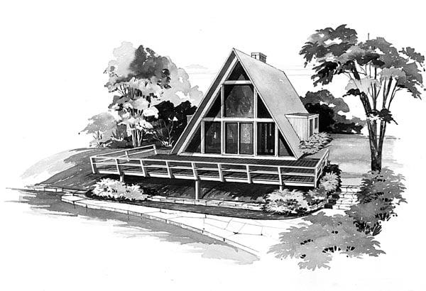 A-Frame Contemporary Retro House Plan 95004 Elevation