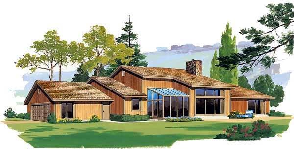 Contemporary Ranch House Plan 95019 Rear Elevation