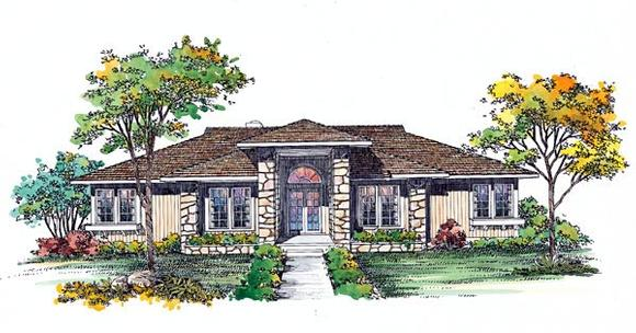 Prairie, Southwest House Plan 95039 with 3 Beds, 2 Baths Elevation