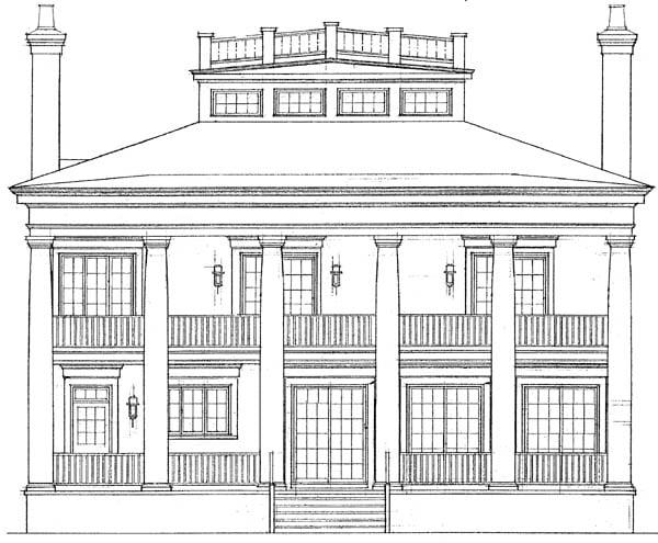 Colonial Plantation House Plan 95058 Rear Elevation