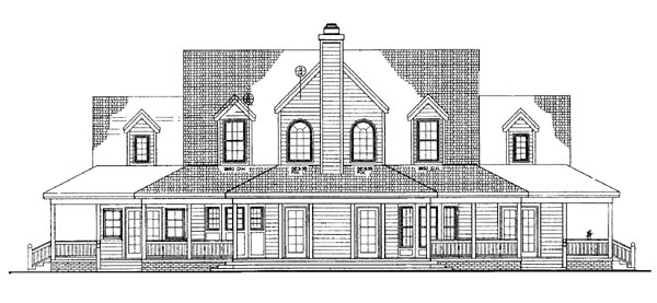Country Farmhouse House Plan 95067 Rear Elevation