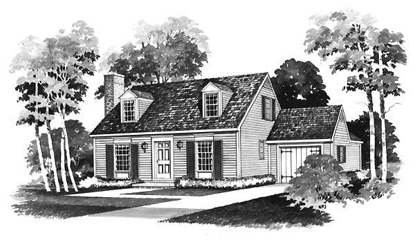 Cape Cod House Plan 95112 with 3 Beds, 2 Baths, 1 Car Garage Elevation