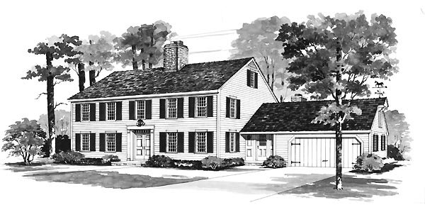 Colonial House Plan 95116 with 5 Beds, 3 Baths, 2 Car Garage Elevation