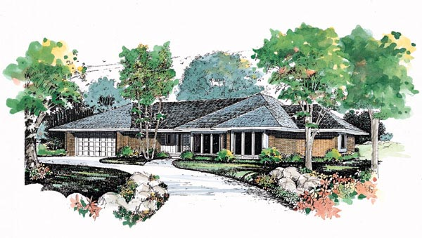 Contemporary Prairie Style Ranch Retro House Plan 95188 Elevation